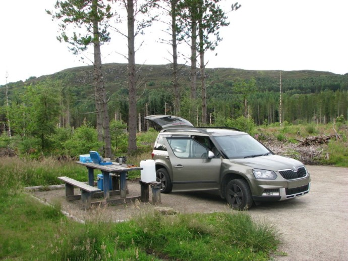 Camped at Abriachan Forest Trail Car Park