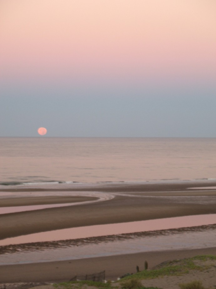 Moonset at Sunset